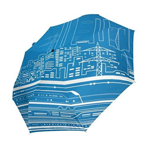 MALPLENA Malpela City Metro 3-Fach Automatischer Regenschirm tragbar für Herren/Damen/Geschenk