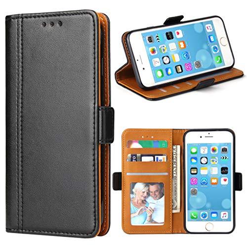 Bozon iPhone 7 Hülle, iPhone 8 Hülle Leder Tasche Handyhülle Flip Wallet Schutzhülle für iPhone 7/8 mit Ständer & Kartenfächer/Magnetverschluss (Schwarz)