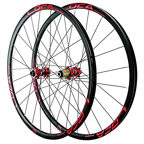 ZCXBHD Oksmsa Juego Ruedas Delantera y Trasera MTB Eje Pasante 29/26 / 27.5 Pulgadas Llantas Aleación Freno De Disco Ruedas De Bicicleta 8 9 10 11 12 Velocidad (Color : Red, Size : 27.5in)