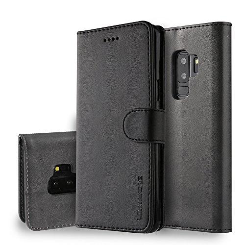yanzi Cover Samsung Galaxy S9 Plus Cover Custodia in Pelle Samsung S9 Plus Cover a Libro Samsung S9 Plus Magnetica Portafoglio Libro Flip Libretto Nero Samsung Galaxy S9 Plus Cover