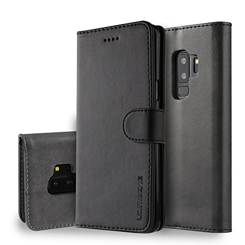 yanzi Funda Samsung Galaxy S9 Plus Funda Carcasa Silicone Case Samsung S9 Plus Funda Protectora Negro móvil Cover Libro Caso Cubierta Magnética Billetera Cuero Samsung S9 Plus Carcasa