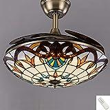 WVIVW 72W Ventilador de Techo Invisible Regulable Luz de Dormitorio con Luz y Mando a Distancia, Lámpara Colgante de Ventilador LEDcon Pantalla de Vitral Tipo Tiffany Lámpara de Techo,Bronce,90cm