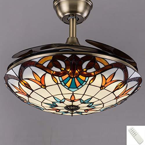 WVIVW Ventilator Deckenleuchte LED Dimmbar Deckenventilator Wohnzimmerlampe mit Fernbedienung, Tiffany Lüfter Beleuchtung Rund Pendelleuchte Retro Deckenlampe Fanlampe 48W,Braun,40cm
