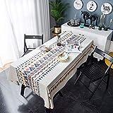 TL LT Nappe Imprimé Tableau Coton Et Lin Tissu Lavable Facile Résistant Imperméable Pastorales Jardins Décoration De La Cuisine Maison,Multicolore,140x180cm