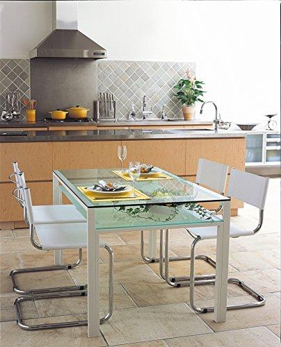 ガラスダイニングテーブル 1300x800 ホワイトフレーム・クリアガラス天板+クリアガラス棚付き DT-11