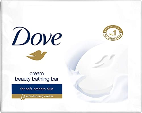 Dove Cream Beauty Bathing Bar With ¼ Moisturizing Cream To Give You Softer, Smoother Skin, 100 g (Pack of 3)