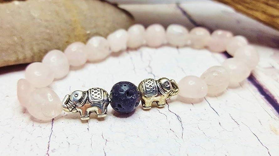 Rose Quartz Essential Oil Diffuser Bracelet ~ Lucky Elephant ~ Natural Aromatherapy Healing Jewelry ~ Gemstone & Lava Bead Stretch Bracelet
