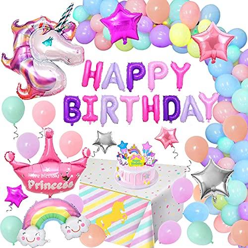 Globos Cumpleaños Unicornio Niña, Decoraciones Cumpleaños Unicornio Especiales con Pancarta Feliz Cumpleaños Mantel Unicornio Decoración para Tarta Para Niñas 3rd 4th 5th 6th 7th 8th Fiesta Cumpleaño