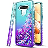 STARSHOP Compatible For -LG Stylo 6 Case, [Not Fit Stylo 5] with [Tempered Glass Protector Included] Liquid Floating Glitter Quicksand Bling Phone Cover with Spot Diamonds - Teal/Purple