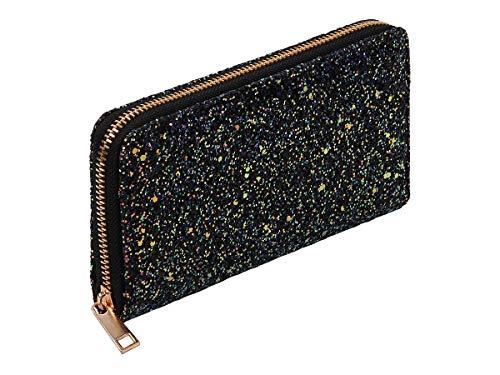 Alsino Geldbörse Glitzer Pailletten Brieftasche 20 x 10 x 2 cm mit Reißverschluss für Damen, Farbe:BT-305 lila Glitzer