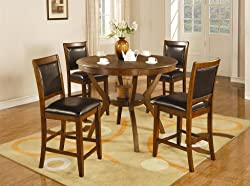 5pc Counter Height Dining Set in Brown Walnut Finish