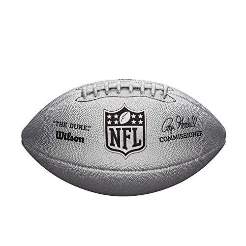 Wilson American Football NFL Duke METALLIC Edition, Mischleder, Offizielle Größe, Silber, WTF1827XB