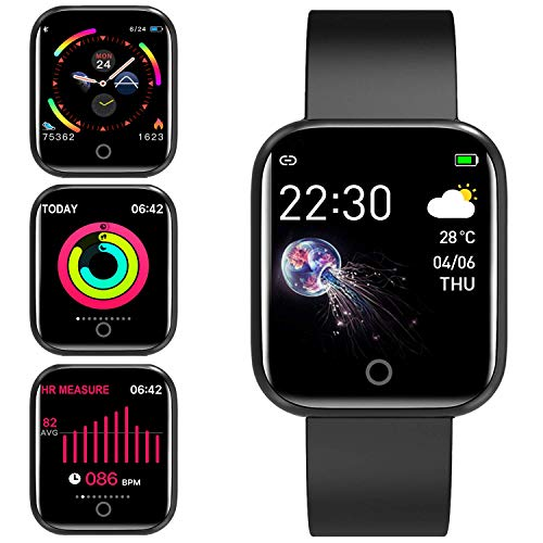 jpantech Smartwatch Orologio Fitness Trakcer Pressione Sanguigna Monitor Cardiofrequenzimetro da Polso Bluetooth Smart Watch Schermo a Colori Impermeabile IP67 per Donna Uomo (Nero)
