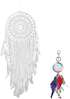 Malicosmile Dream Catcher, White Dream Catchers Crochet Wall Hanging Dreamcatcher with a Keychain Gift