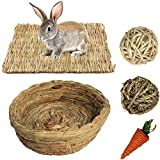 Bunny Grass Mat Woven Bed Mat,Rabbit Digging Hay Straw Resting Basket Bedding Nest,Fun Small Animals Play Balls Rolling Chew Toys Gnawing Treats for Guinea Pig Hamster Chinchilla Parrot (Rabbit love)