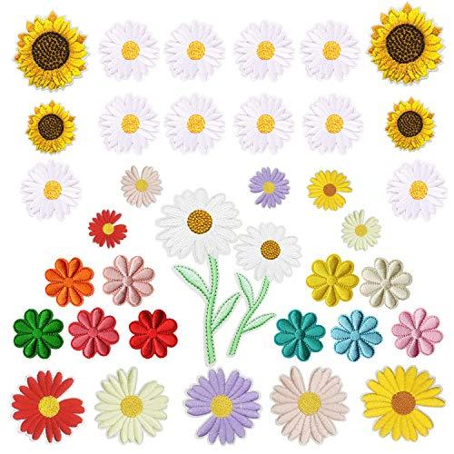 Woohome Blume Patches zum Aufbügeln, 35 Stück Gänseblümchen Sonnenblume Bügelflicken Applikation Gestickten Aufnäher für T-Shirt Jeans Taschen Kleidung