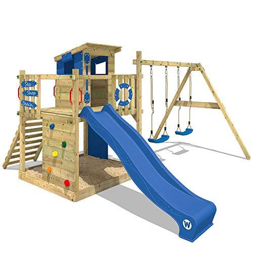 WICKEY Aire de jeux Portique bois Smart Camp avec balançoire et toboggan bleu, Cabane enfant exterieur avec bac à sable, échelle descalade & accessoires de jeux
