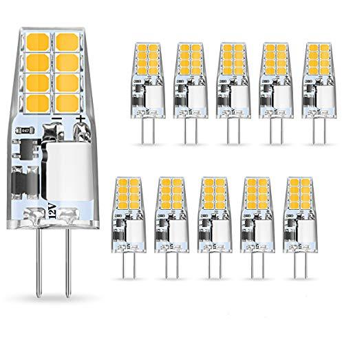 AMBOTHER G4 LED Lampen, 3W LED Birnen ersetzt 35W Halogenlampen, Warmweiß 12V AC/DC LED Leuchtmittel, 350LM Kein Flackern Nicht Dimmbar 360° Lichtwinkel G4 Licht, Stiftsockellampe Glühbirnen 10er Pack