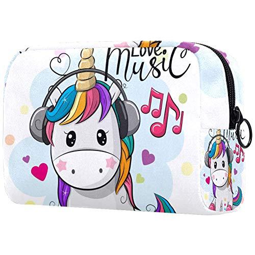Make-up tas toilettas voor vrouwen baby eenhoorn met koptelefoon huidverzorging cosmetische handige zak rits handtas