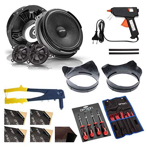 OPTION AIR Lautsprechersystem - 100prozent Plug und Play kompatibel mit VW T6 - Lautsprecher Set vorne - Komplettset mit Einbauzubehör