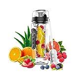 KM - Wasserflasche mit Fruchteinsatz - Auslaufsicher Sportflasche - Water Bottle BPA Frei aus Tritan...