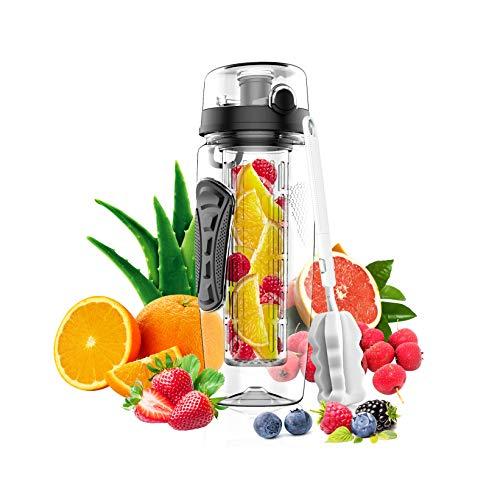 KM - Wasserflasche mit Fruchteinsatz - Auslaufsicher Sportflasche - Water Bottle BPA Frei aus Tritan - Flasche für Sport,Fitness,Fußball,Outdoor-inklusiv Flaschenreinigungsbürste - Flaschenhülle