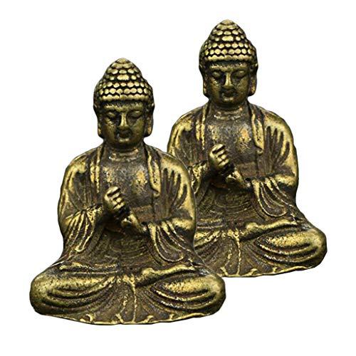 yotijar Set of 2, Brass Buddha Meditation Statue Sitting Pose Fengshui Home Decor