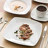 MALACASA Serie Julia, Tafelservice 30-teilig Kombiservice Porzellan Geschirrset mit je 6 Kaffeetassen, 6 Untertassen, 6 Kuchenteller, 6 Suppenteller und 6 Flachteller Kaffeeservice für 6 Personen - 8