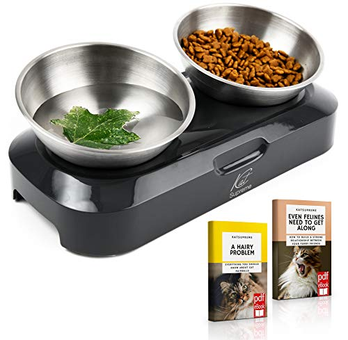 KatSupreme Raised Cat Food Bowl - Set of 2 Stainless Steel Cat Bowls Elevated by Stand, Tilted Cat Food Bowls, Elevated Cat Bowls for Food and Water, Orthopedic and Anti Vomiting Cat Bowl Set