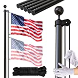 FFILY Flag Pole Kit, 20 FT Extra Thick Heavy Duty Aluminum Flagpole, Outsides Inground Flag Poles with 3x5 American Flag for Yard, Residential or Commercial, Black…
