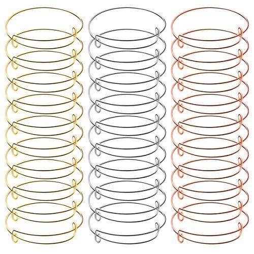 DokpavDokpav 30 Pcs Expandable Bangle Bracelets Stainless Steel Adjustable Wire Blank Bangles for DIY Jewelry Making
