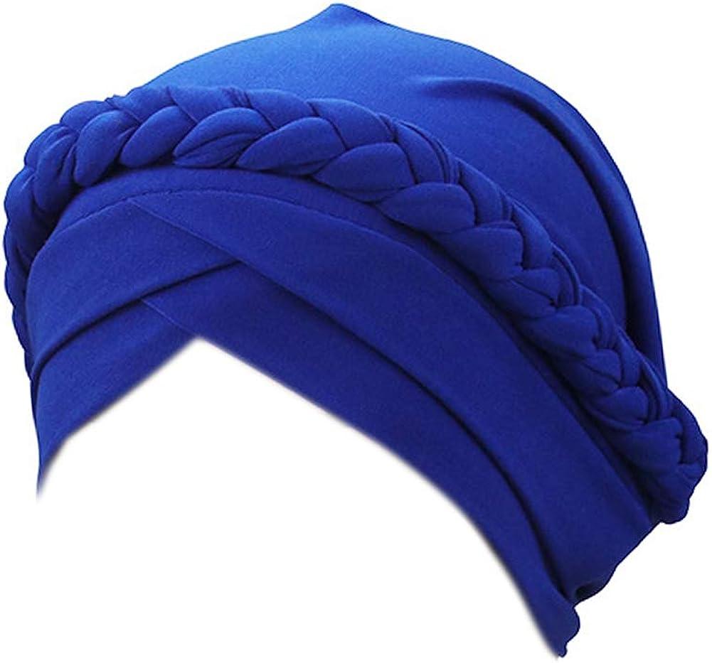 YiYi Operation Women's Twisted Braid Silky Turban Hats Cancer Chemo Skull Beanies Headwear Head Wrap Hair Loss Cover
