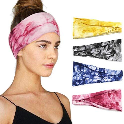 Fairvir Sport-Stirnband, rot, elastisch, für Workout, Laufen, Yoga, Alltag, breit, dehnbar, Haar-Accessoires für Frauen und Mädchen (4 Stück)