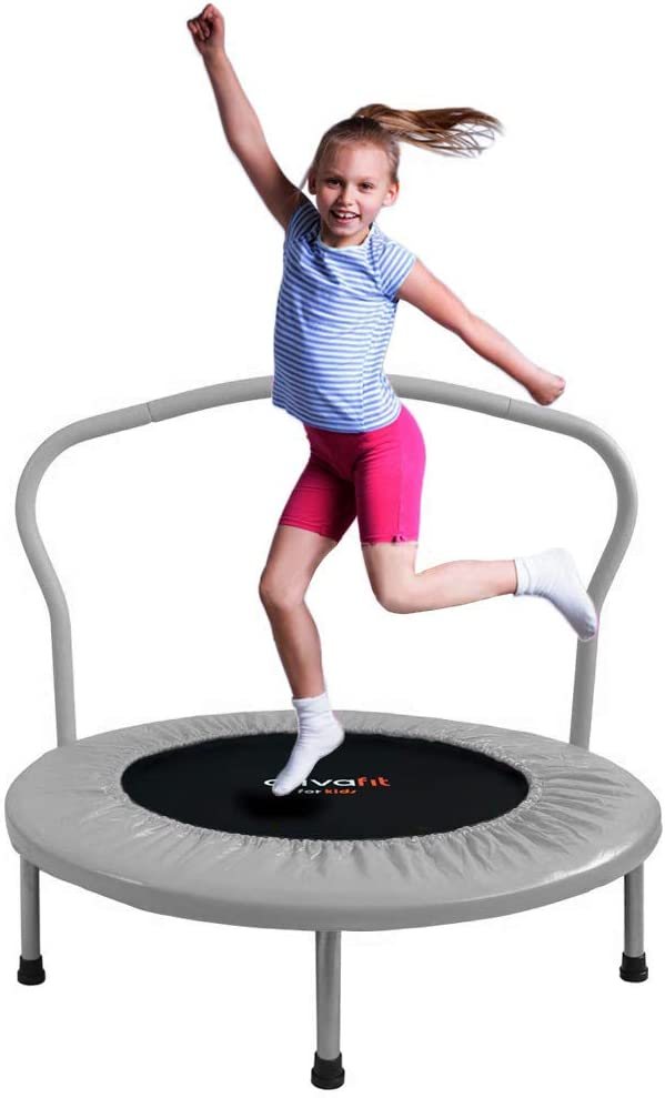 ATIVAFIT 36-Inch Folding Trampoline Mini Rebounder/ ,Suitable for Indoor and Outdoor use for Two Kids with safty Padded Cover