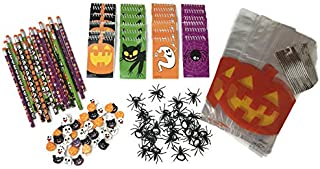 Halloween Party Favors- Pencils, Notebooks, Erasers, Spider Rings, Treat Bags (24 Pack)
