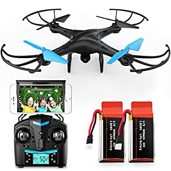 Force1 U45W FPV Drone with Camera for Adults - VR Capable WiFi Quadcopter Remote Control Flying Drone with 720p HD Camera Live Video 6 Axis Gyro Altitude Hold Headless Mode and 2 Drone Batteries
