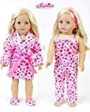 18 Inch Doll Clothes with Hearts by Sophia's Perfect for Valentine Celebrations, Pajama 4 Pc. Set, Fits 18 Inch Dolls, My Doll's Life | Doll Sold Separately