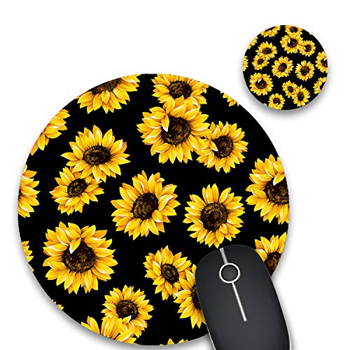Round Mouse Pad and Coasters Set, Sunflower with Black Background Mousepad, Non-Slip Rubber Round Gaming Mouse Pad, Customized Mouse Mat for Home Office Business Gaming,7.87 x 7.87 x 0.1 Inch