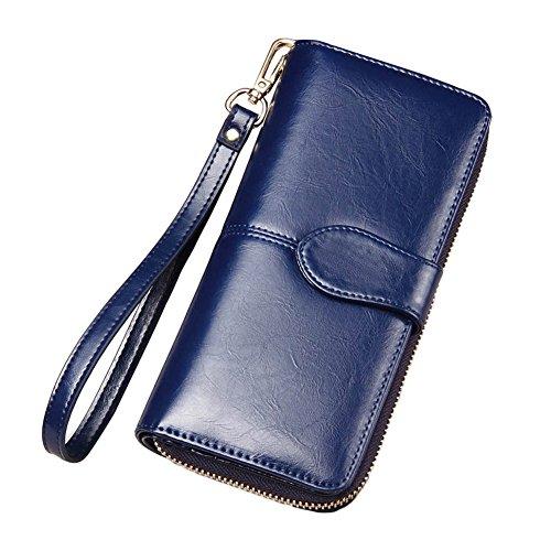 Mode Vrouwen PU Lederen Portemonnee Lange Kaarthouder Case Koppeling Handtas tas tas Donkerblauw