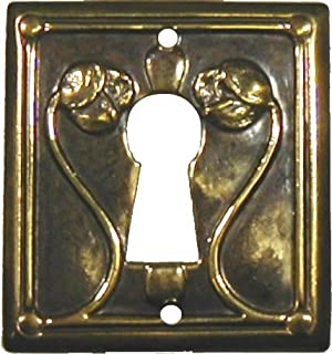 Antiqued Stamped Brass w/Roses Modern Keyhole Cover Escutcheon Plate for Cabinet Doors, Dresser Drawers, Desk Antique Furniture Hardware   LS-163