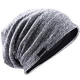 VECRY Uomo Slouchy Beanie Knit Zucchetto Lungo Gonfio Foderato Inverno Estate Cappelli (Pallido)