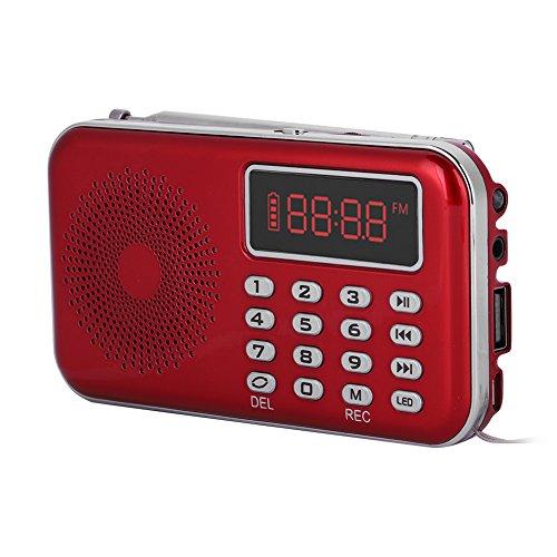 Eboxer draagbare ruisonderdrukking FM-radio USB/TF/AUX muziek spraakopname MP3-speler radio met PW Cut Memory (zwart, rood), rood
