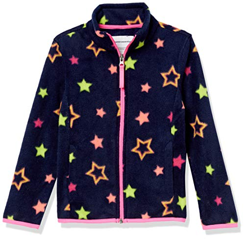 Amazon Essentials Full-Zip Polar Fleece Jacket Outerwear-Jackets, Navy Multi Stelle, 6-7 Anni