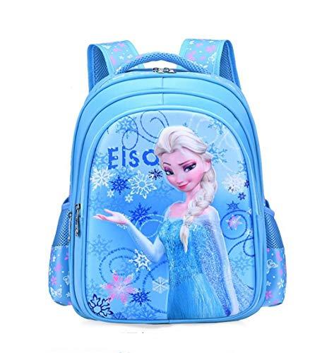 BIGMENG Frozen Elsa School Backpack for Girls Blue Disney Cartoon Student Bookbag for Toddler