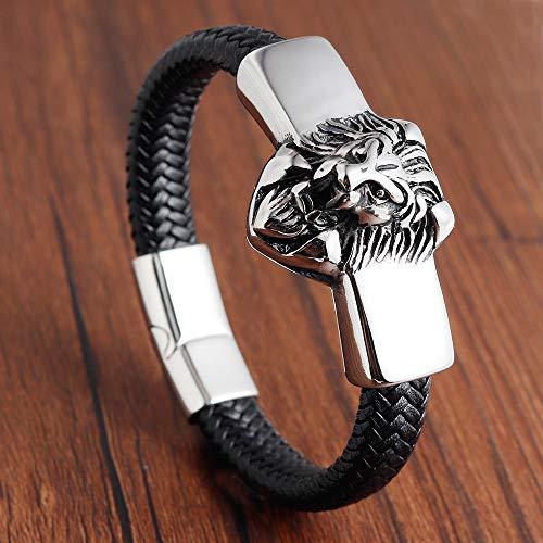 Hjpam Lion Leather Rope Hombres Pulsera Acero Inoxidable Cierre Magnético Piel De Vaca Trenzado Envoltura De Múltiples Capas Brazalete De Moda Pulsera Hombre | Pulseras con Dijes |- Aliexpress