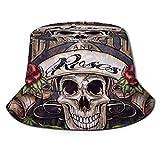 Sombrero de Cubo Calavera Reversible Empacable Estampado de Marihuana Sombrero de Sol Sombrero de Pescador Gorra Acampar al Aire Libre