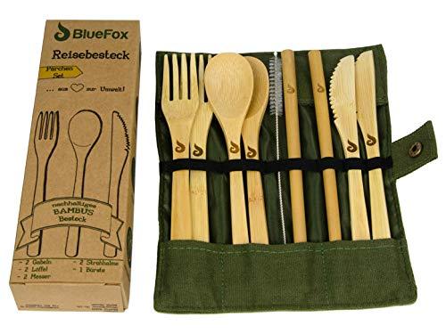 BlueFox Reisebesteck Bambus für 2 Personen mit Etui, Campingbesteck Set nachhaltig & leicht, umweltfreundliches Besteck Set, Reisebesteck, Bambusbesteck Messer, Gabel, Löffel, Strohhalm, in Olive