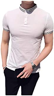 neveraway Men Loose Fit Pique Polo Shirt Business Short Sleeve Tops Blouses