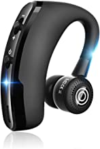 Bluetooth Headset V5.0 with CVC6.0 Dual Mic Noise Cancelling Bluetooth Earpiece 10Hrs Talktime Wireless Headset Hands-Free Earphone for Truck Driver iPhone Android Cell Phones (Black)