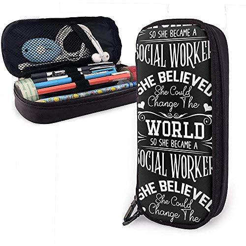 Trabajador social Funda lápiz cuero lona multifunción